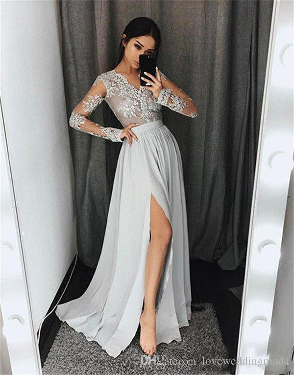 2018 Grey Silver Chiffon A Line Prom Dresses With Sheer Long Sleeve Applique Lace Customized Evening Gown Slit Side