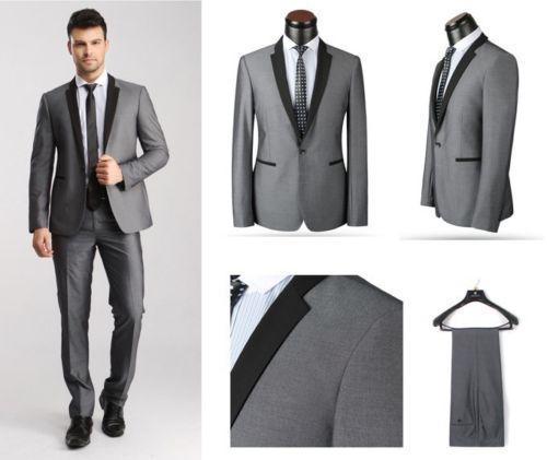 High Quality Light Grey Peak Lapel One Button Groom Tuxedos