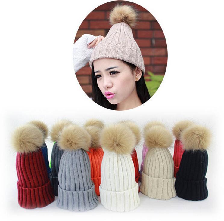 d1035e1b7ec Large Faux Rubbit Fur Ball Pom Pom Knitted Hat Women s Winter Woolen ...