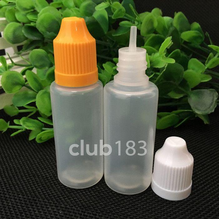 Geweldige kwaliteit 20 ml pe plastic e vloeibare flessenflessen met plastic naald tip kindproof fles cap naald fles slanke tip