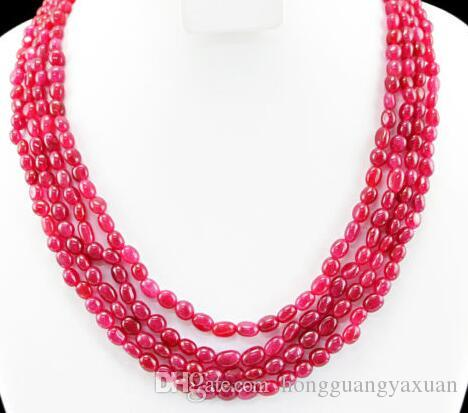 MINED 4 LINE RICH RED RUBY OVAL SHAPED BEADS NECKLACE 13x18mm