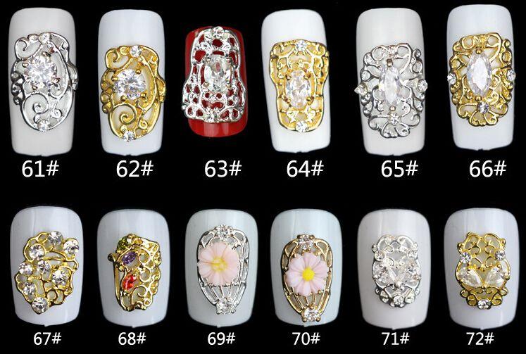 Wholesale-Optional 3D Shiny Nail Alloy Rhinestone Metal Nail Art Tip Zircon Design Glitters Decoration