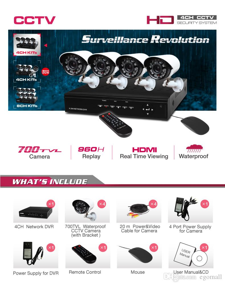 Upgrade Home Security System H.264 4CH 960H Network DVR with 700TVL color waterproof cameras, 500G HDD CCTV System H203