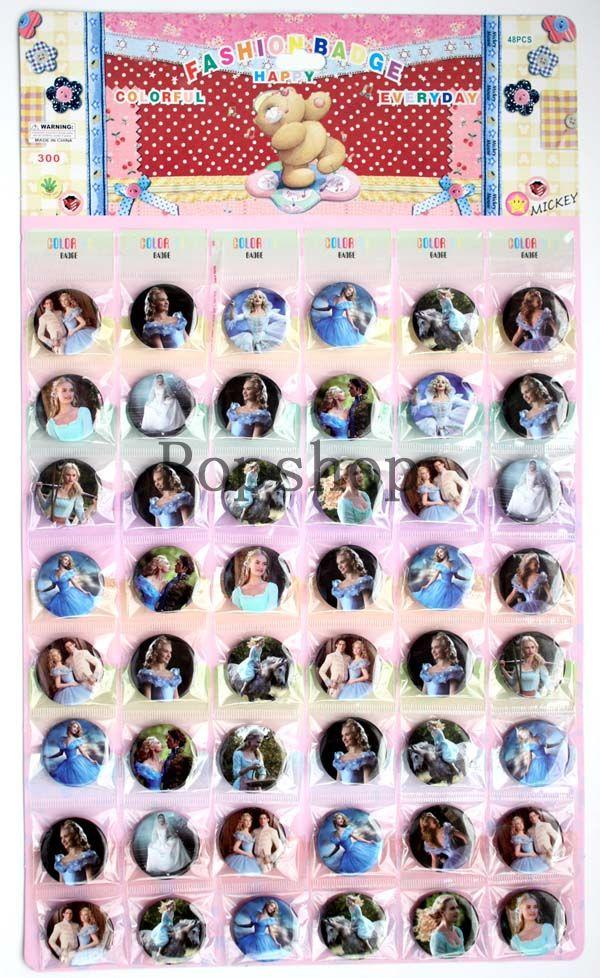 Wholesale! NEW Beautful Cinderella DESIGN Tin Buttons 3cm Pins Badges Round Brooch Badge,Kid favors /5sheets