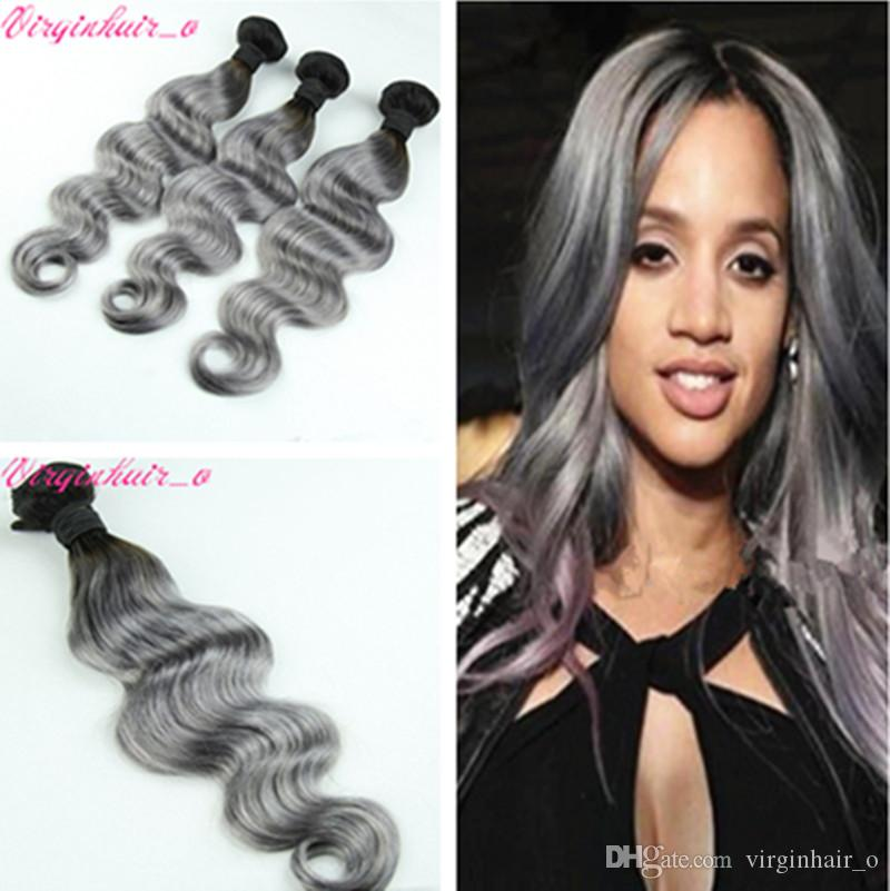 3 Bundles 1b Grey Dark Roots Ombre Hair Extensions Sliver Gray Black