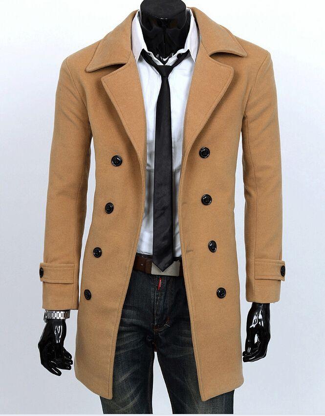 2017 2014 Fall Autumn New Men Trench Coats Casual Cardigan Outwear ...