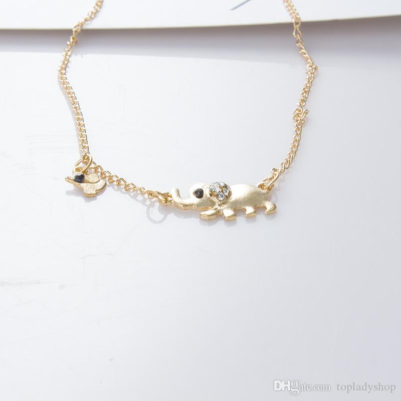 Crystal Elements Home Modeschmuck 2 Größe Elephant Halskette Muttertag Geschenk Großhandel versandkostenfrei