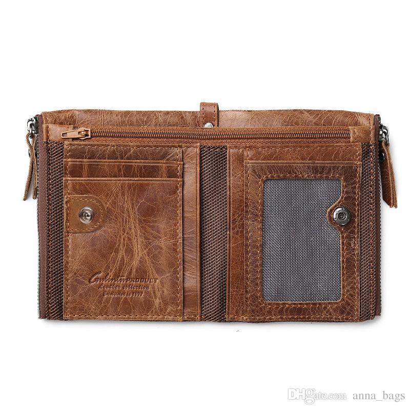 high quality fashion short coin purse super slim brown black business style double zipper men designer cowhide genuine leather wallets