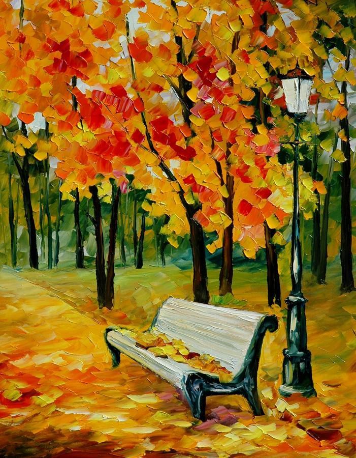 Acrylic Paintings Of Benches
