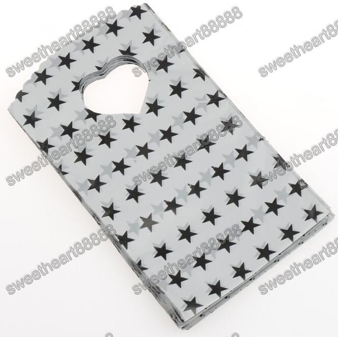 200 unids / lote 9x15 cm es negro gris cielo azul con patrón de estrellas bolsa de plástico bolsas de regalo bolsas de la joyería