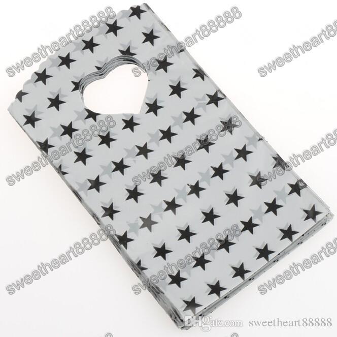 / 9x15cm 4Couleurs Noir Grey Sky Bleu avec Stars Motif Sac en plastique Sacs-cadeaux Sacs Bijoux Pochettes
