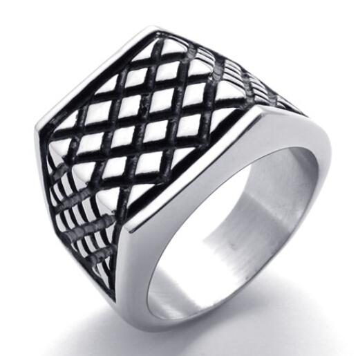 Fashion Men Jewelry Gothic Mens Ring, Hot Sale, 316L Stainless Steel Black Granulous Net Ring