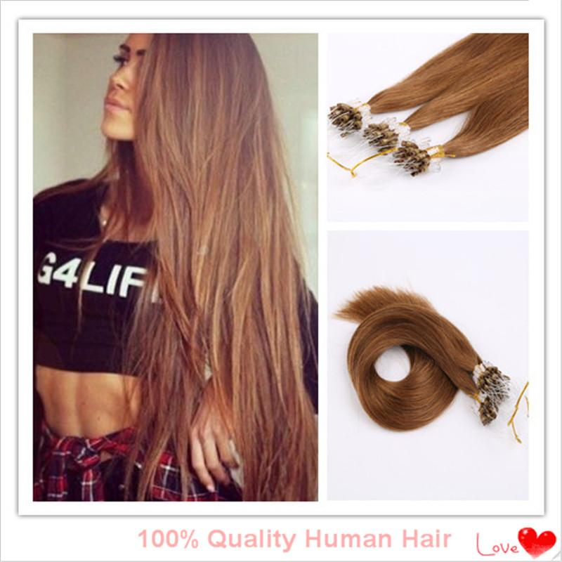 100strands 100g Remy Hair Micro Loop Rings Hair Extension 5a Grade