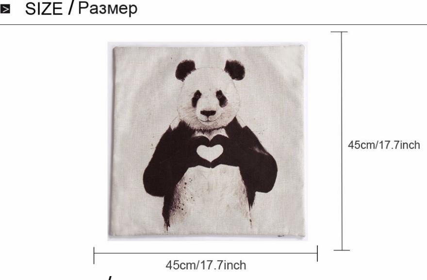 Cushion Covers Love Panda Stampa modello di cotone in lino Kung Fu Panda federa casa negozio di arredamento 45 * 45 cm / 17.7 * 17.7 '' regalo trasporto di goccia