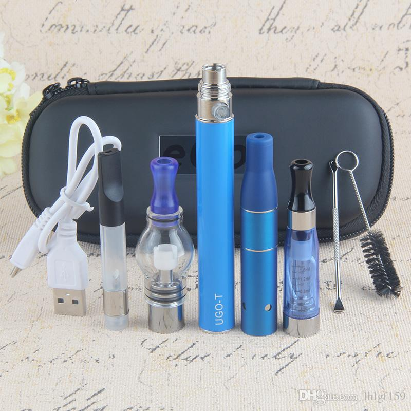 China Direct USB Pass Through 4 in 1 Vaporizer Starter Kit for Vapor CE4 Oil Ago Dry Herb Glass Globe Wax Dome EGO Batteries Vape Pen E Cigs