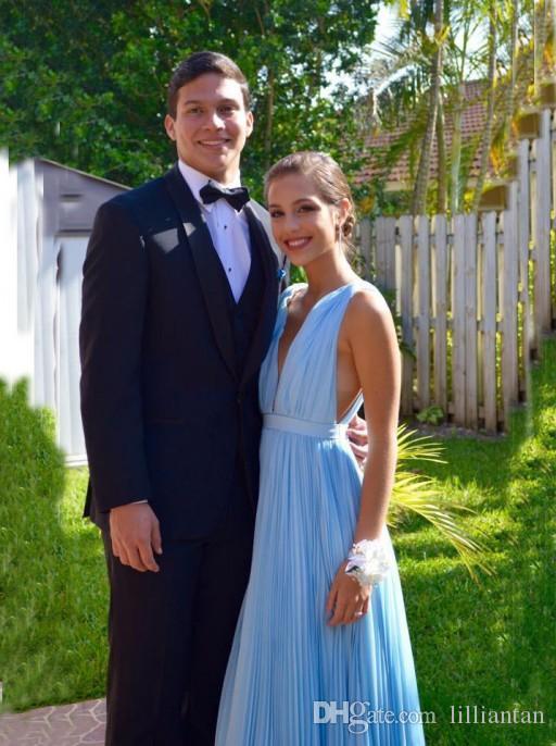 A 라인 블루 쉬폰 긴 댄스 파티 드레스 2016 딥 브이 넥 등이없는 파티 드레스 Draped 파란 경우의 졸업 가운 vestidos 드 포맷 라