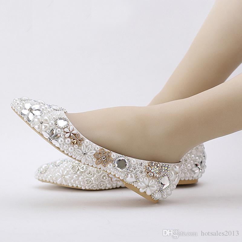 2019 Beatiful Flat Heel White Pearl Wedding Shoes Comfortable Crystal Bridal Flats Customized Mother of Bride Shoes Plus Size
