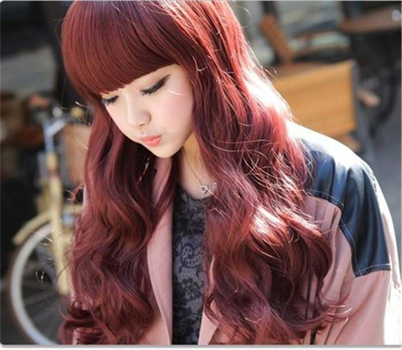 WoodFestival Women Cheap Wigs With Bangs Long Wine Red Wig Cosplay Full  Burgundy Wig Curly Heat Resistant Synthetic Wigs Natural Hair Synthetic  Half Wig ... 1018c2ddf496