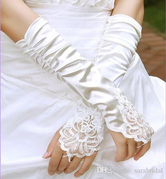 2017 Hot Sales Black Satin Bridal Gloves Beading Fingerless Excellent Quality Elbow Length In Stock Bridal Accessories Ivory Wedding Glvoes