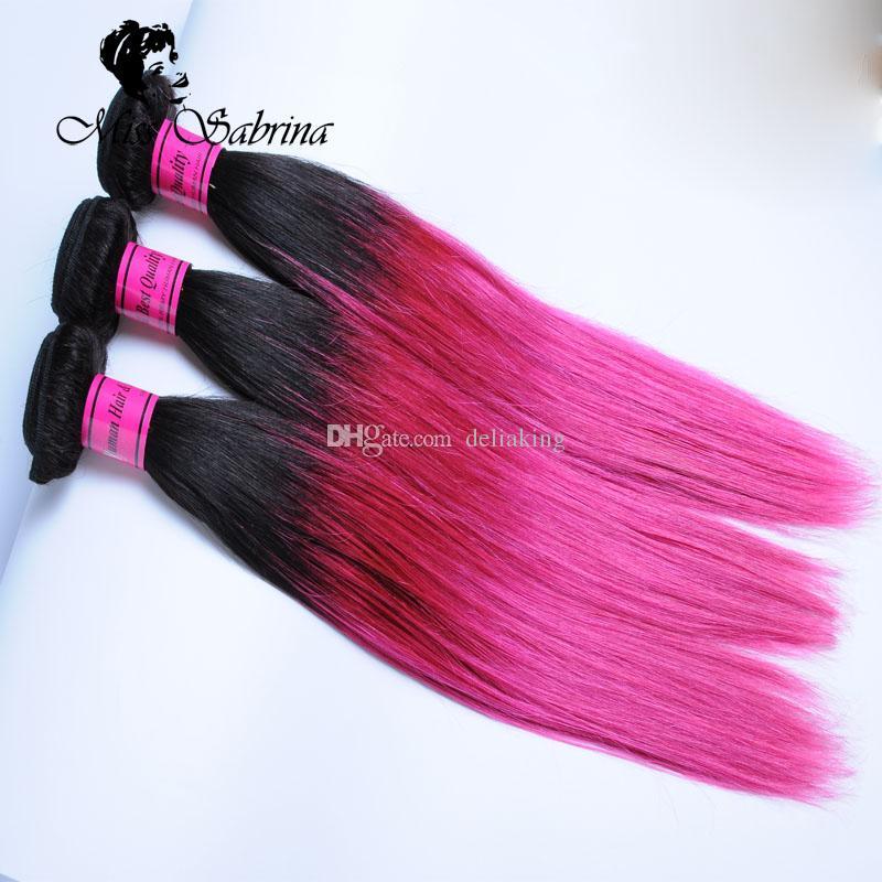 Pacotes de Cabelo Humano Ombre Lote Um Pacote 1B / Rosa Raízes Escuras Cabelo Liso Brasileira Rosa Rosa Pré-Coloridas Não Remy cabelo