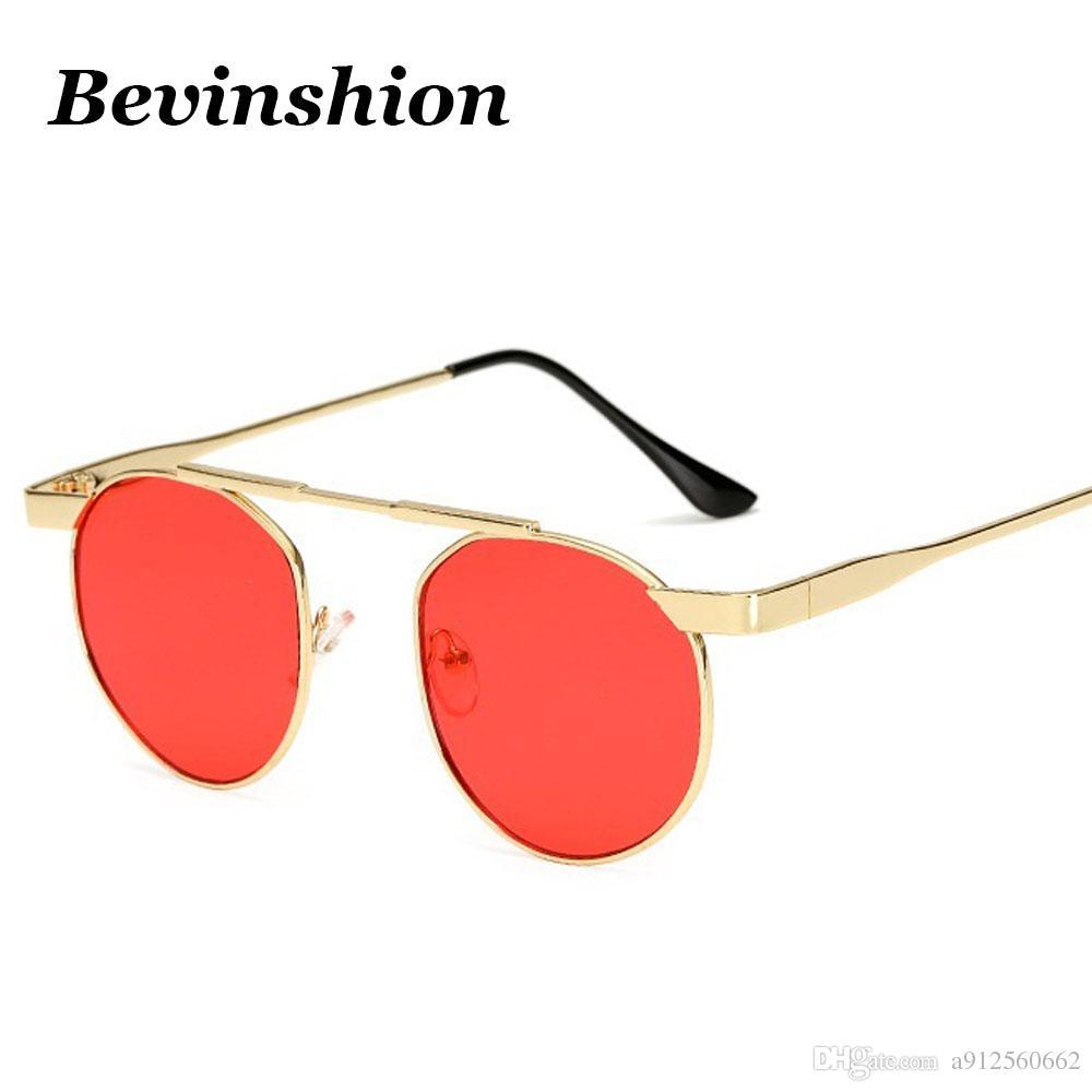 0b36688d42d83 Compre Novos Óculos De Sol Pequeno Redondo De Metal Óculos De Sol Das  Mulheres Doces Cor Lente Transparente Longo Feixe De Quadro Rosa Vermelho  Marca ...