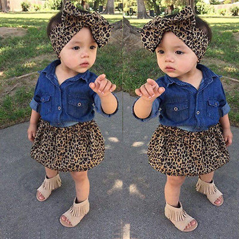 Fashion Children Leopard outfits kids girls cotton T-shirt+Leopard Dress + Leopard heandband baby INS suit