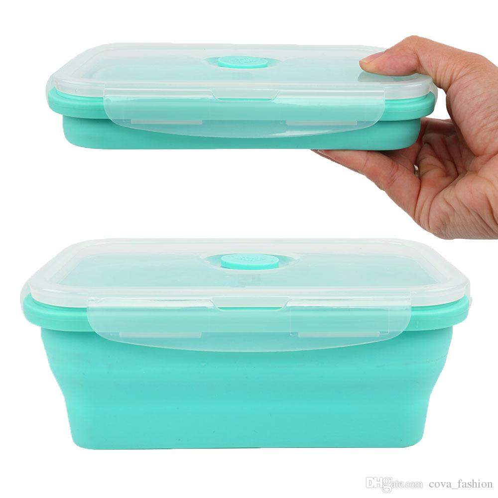 Foldable Silicone Lunch Box Food Storage Containers Household Food Fruits Holder Camping Road Trip Portable Microwave Oven Bento Box