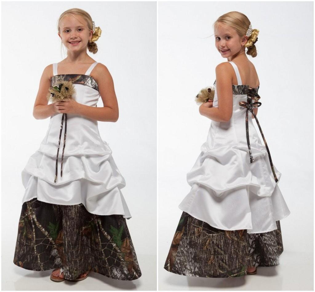 Camo Flower Girls Wedding Dresses Bateau Spaghetti Strap Lace-up Back Floor Length with Three Tiers A Line Wedding Gowns Cheap Custom Made
