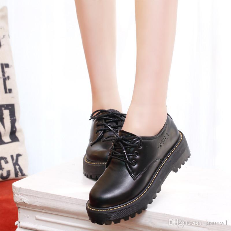 49d4c02f0c2 Compre Nuevos Uniformes Escolares Japoneses Zapatos De Mujer Zapatos De  Cuero Negro Grueso De La Parte Superior Mujer Zapatos De Superestrella Mujer  PU ...