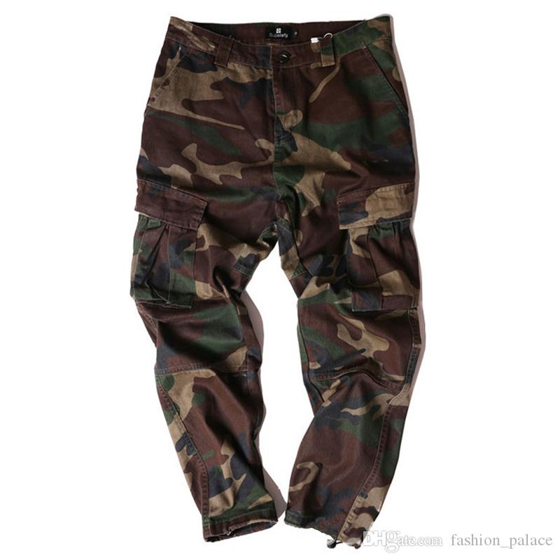 2489daffc4 Compre Hombres Pantalones De Camuflaje Jogger Pantalones De Carga Al Aire  Libre De Alta Calidad Pantalones De Calle Kanye West Pantalones Cool  Skatebaord ...