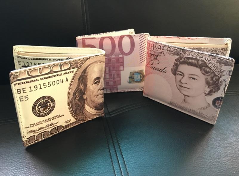 Nueva llegada 100 dólares / 500 EURO / 50 libras Bill Money carteras para hombre / mujeres Male's Purse Card y titular de la tarjeta Creative Explosion Model Wallet