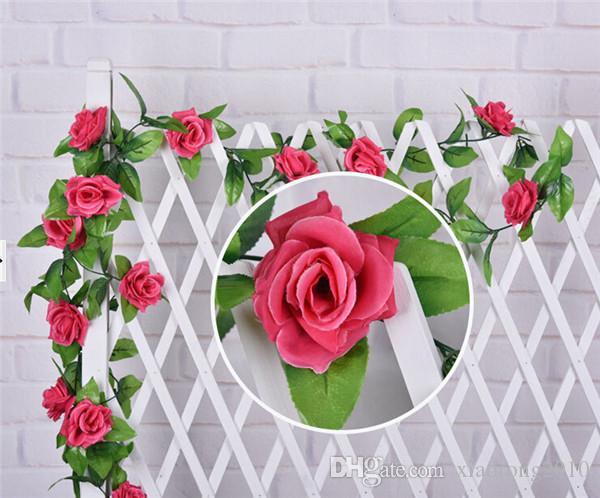 2 m Silk Rose Flor Rattan Artificial Rosas Guirlandas De Flores Flores de Plástico para Festa de Casamento de Supermercado Casa Decorações 9 Cor