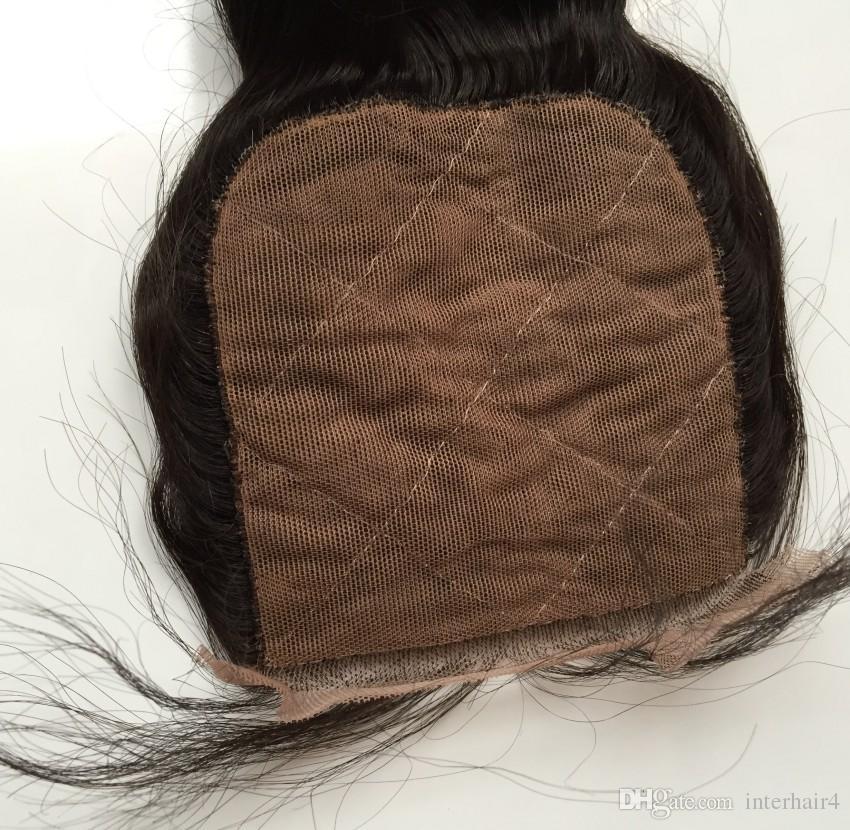 Estensione dei capelli vergini onda allentata 4 pezzi lotto 100% non trasformati tessuto dei capelli malesi vergine, 3 pacchi con chiusura in seta chiusura 4X4