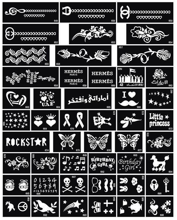 Scintillement Tattoo Stencil Design pour Body art Peinture 100 feuilles dessins mixtes Livraison gratuite
