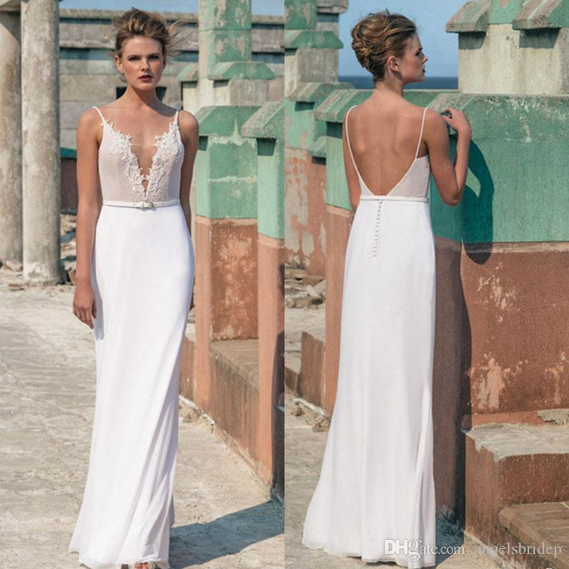Spaghetti Straps Beach Wedding Dresses Sheer Plunging Neckline ...