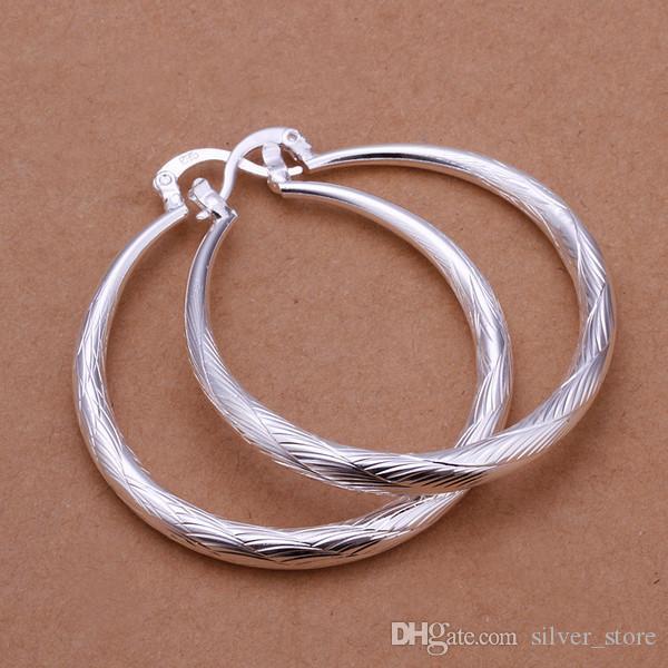 Brand new sterling silver plate Big fish pattern round earrings SE292,women's 925 silver Dangle Chandelier earrings a factory