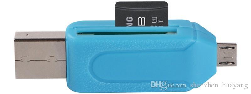 2 en 1 USB Dual Slot macho a Micro USB OTG del adaptador del TF / lector de tarjetas de memoria SD de 32 GB 4 8 16GB para Smartphone Android Tablet Google