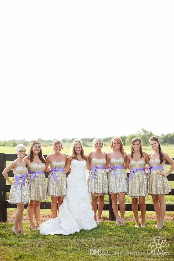 2015 Горячие Продажи Свет шампанского Sequins Breidesmaid Платья с лавандой Sash Sweetheart Короткие Пляжные Горничные Свадебные Платья