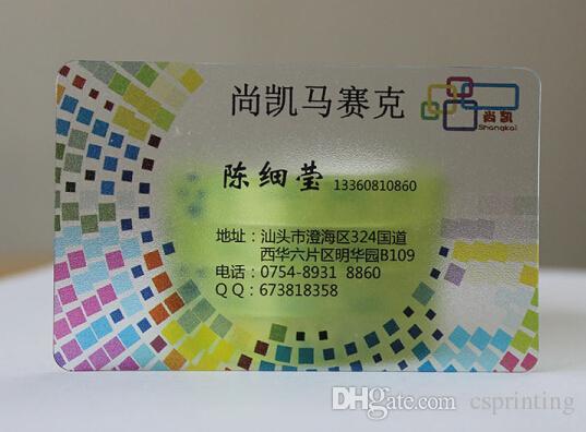Carte de visite PVC transparente Carte de visite personnalisée Cartes en plastique transparentes avec impression CMYK latérale SIGLE