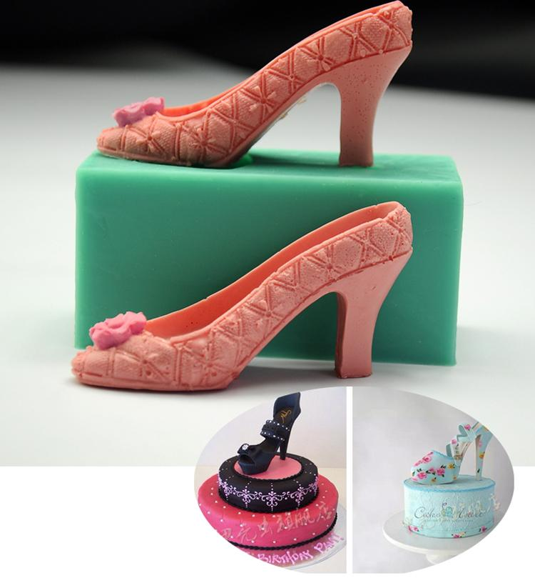 Baking Party Silicone Mold Wedding Cake Heels Fondant Decorating Stereoscopic Tools 3d High Cupcake Topper Chocolate f76Ybgy
