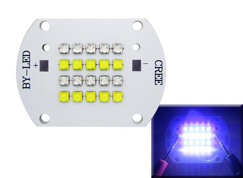100 W CREE XT-E XTE 10 sztuk biały 6000k + 10 sztuk Royal Blue 455nm LED Moduł Light For Coral Light