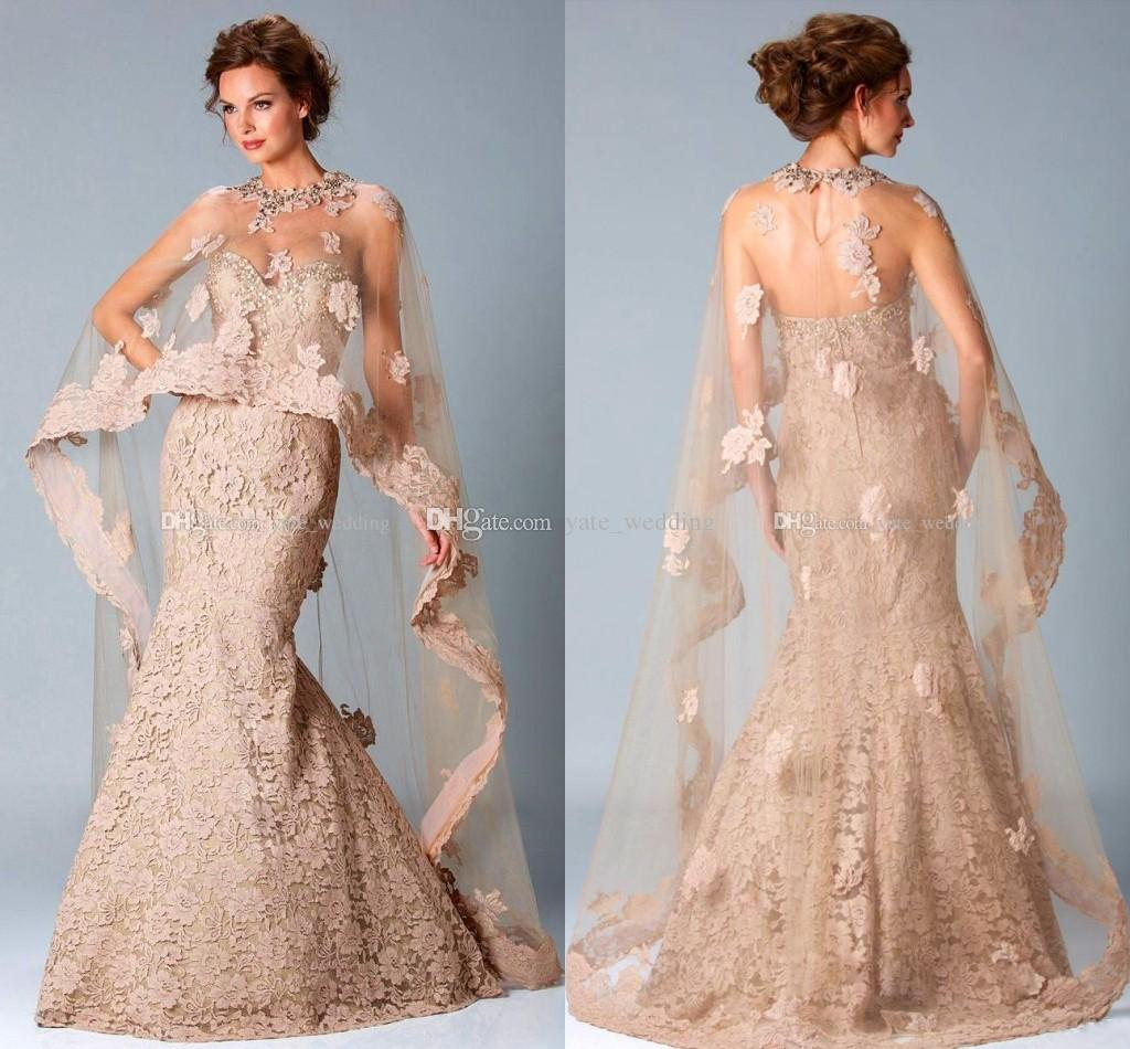 Lace Mermaid Evening Dresses With Long Cape Sweetheart Crystal ...