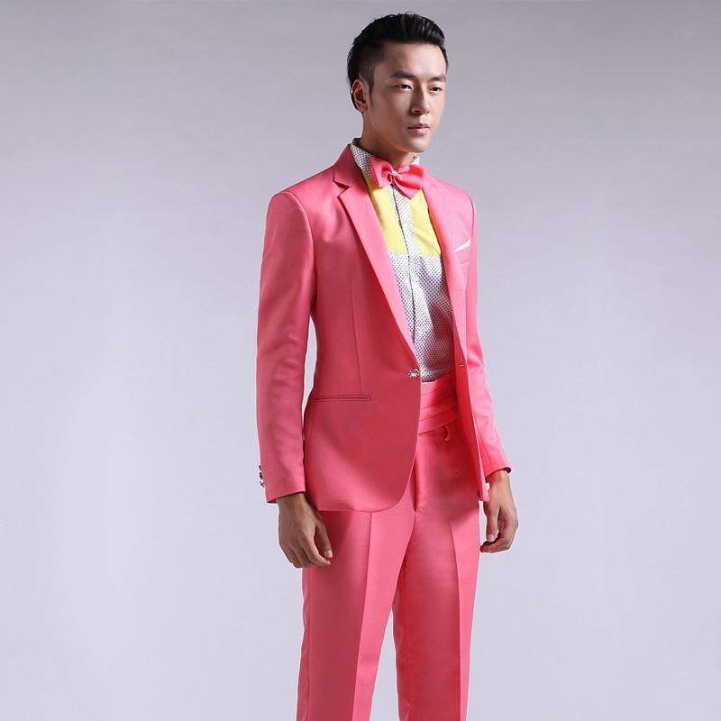 2018 Fg1509 2015 New Arrival Men Suit Spring Slim Pink Red Groom ...
