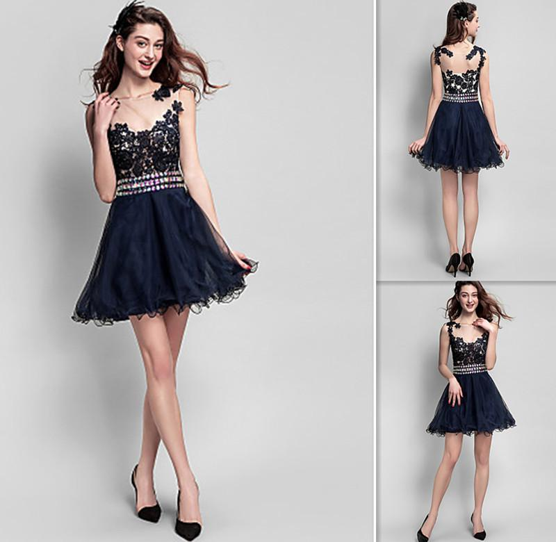 1feef14309e Graduation Dresses For College Black Lace And Tulle A Line Short Sheer  Neckline 2015 Cocktail Party Gowns 8th Grade Girls Homecoming Dress Dress  Boutique ...