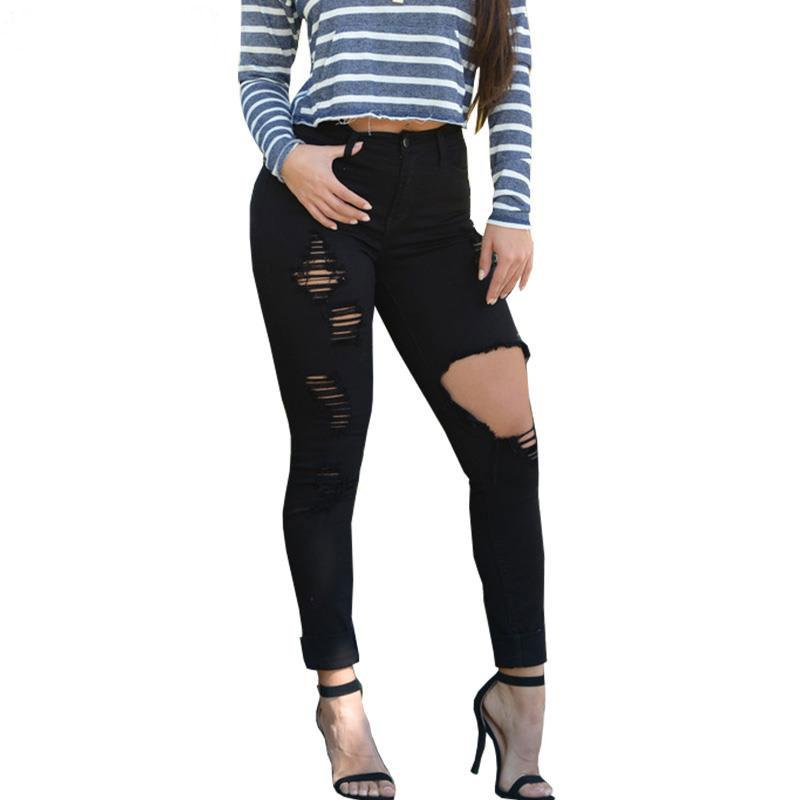 2017 Plus Size S 3xlautumn Black White Hole Ripped Jeans Women ...