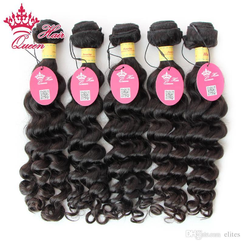 Queen Hair Official store 100% Virgin Unprocessed Peruvian Human Hair Weave Wavy Peruvian Virgin Hair More Wave