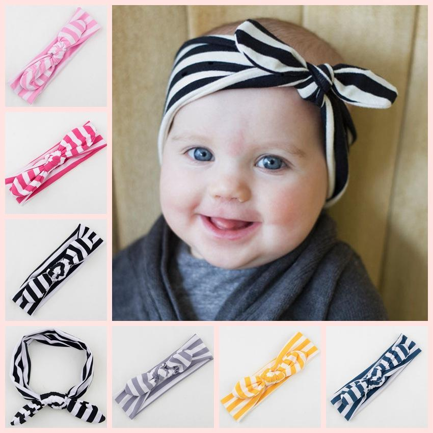 Wide Knot Headbands Baby Girl Headwraps Bandeau Cheveux Striped