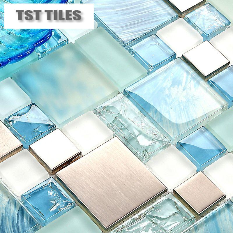 2018 Modern Sale 11sheetsBlue Sea Glass Kitchen Tiles Bathroom ...