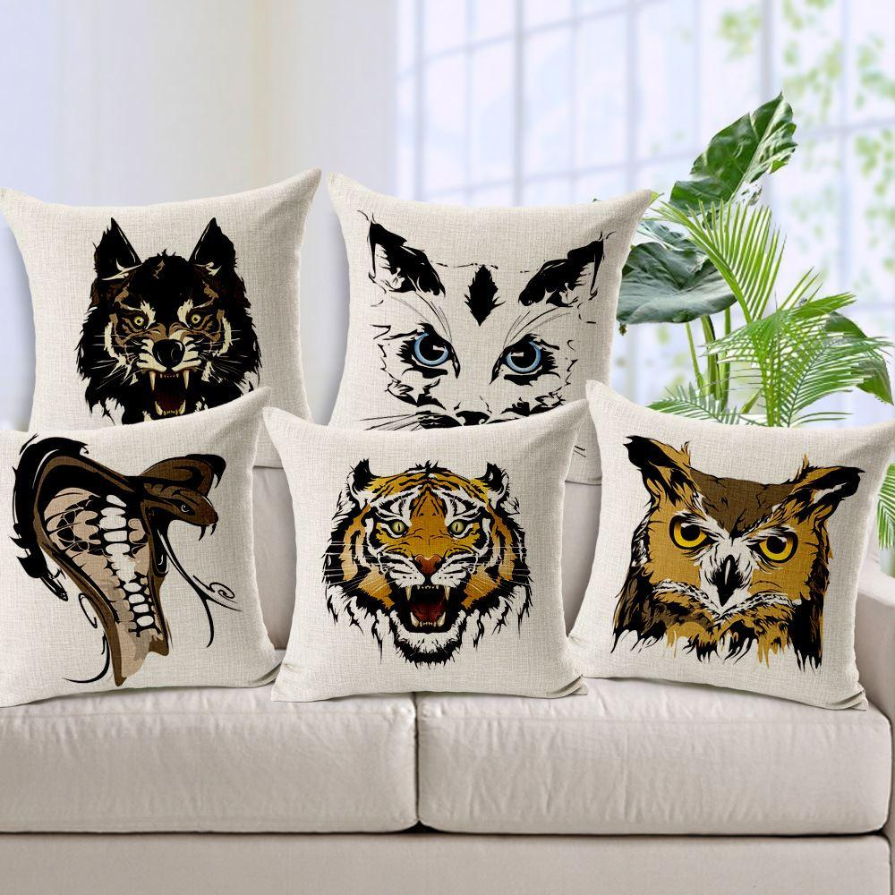 Cojines Tiger.Hand Painted Cobra Owl Wolf Tiger Cushion Cover Soft Fundas Para Cojines Animals Print Pillow Cover 45cm 45cm