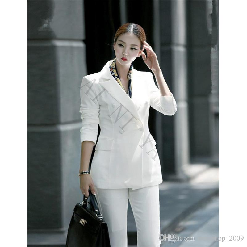 2018 New Black White Pant Suits Women Casual Office Uniform Styles Ladies Elegant Pant Suits ...